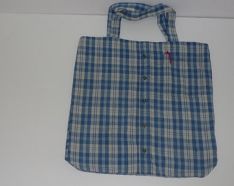 Boho Shoulder Bag. Free shipping. Back to school bag. Recycled men's shirt bag. Gift for teenagers.