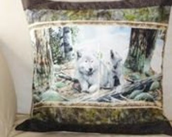 Quilted pillow cover. Wolves in the woods. Free shipping.