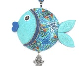 Wall decor fish, lucky fish, fish of fortune, Polymer clay handmade fish in blue, turquoise, green, white and silver
