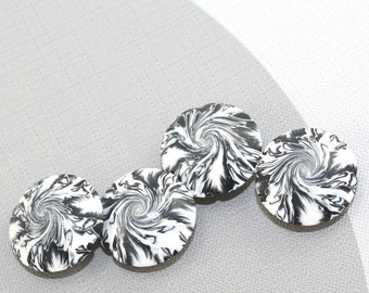 Swirl lentil beads in black, white and silver, focal beads in abstract pattern, craft supplies, elegant beads Set of 4
