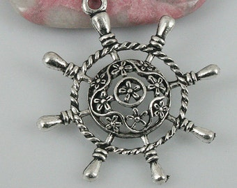 14pcs tibetan silver color flower rudder pendant EF0494