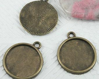 26pcs antiqued bronze color round shaped cabochon settings EF0700