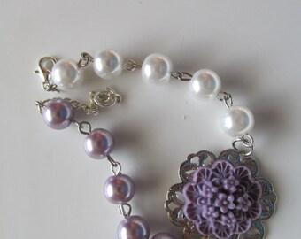 Lavender and White Pearl Bracelet, Flower Girl Bracelet, Bridal Bracelet