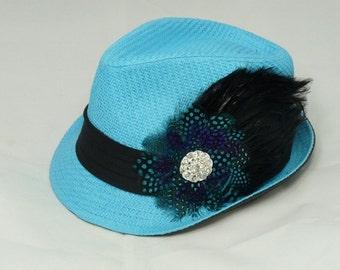 Turquoise feather fedora