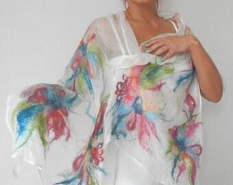 nuno felted silk scarf shawl  MY FLOWERS handmade art to wear, silk wool scarf, nuno felt shawl, wedding scarf, eco fashion by Kantorysinska