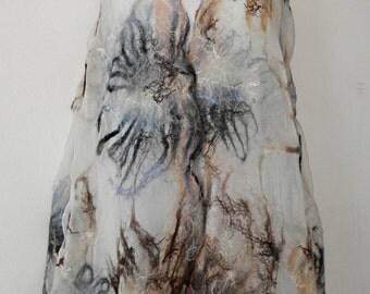 nuno felted silk scarf shawl wrap FROZEN LAKE handmade, silk wool scarf, eco fashion by Kantorysinska