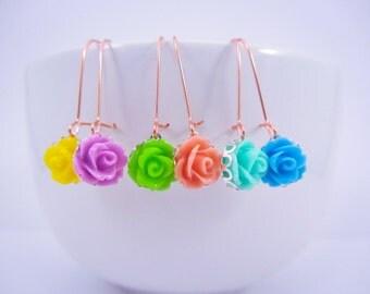 Dangle Earrings, Rose Earrings, Rose Gold Earwire, Long Earrings, Pink Gold Kidney Earwire, Resin Rose JewelryChoose One Color