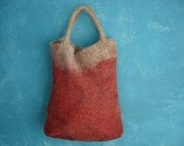 Large felt tote bag in red and beige