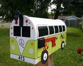 EXAMPLE - Custom Made To Order Volkswagen Bus Mailbox by TheBusBox - EXAMPLE - Choose Your Color - CustomBox Lime Green Grafitti
