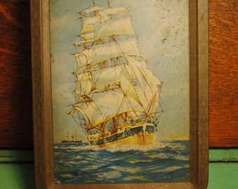 SHIP TIN antique ship tin made in England , much loved, great patina and charm a true antique Home Decor storage CANDY Tin ocean sea