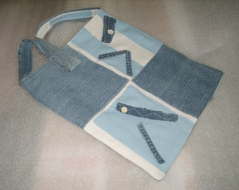 Denim upcycled tote, reversible