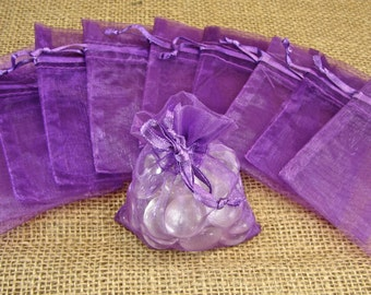 "Organza Favor Bags - Plum / Orchid - 3x4"" - 30 Pieces - Great For Party/ Shower Favors - Sachets"