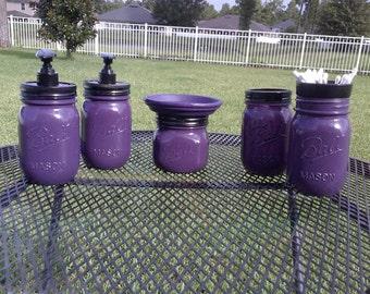 Ball Mason Jar Bathroom Set - Eggplant Purple and Black - Full Bathroom Set or CHOOSE COLOR