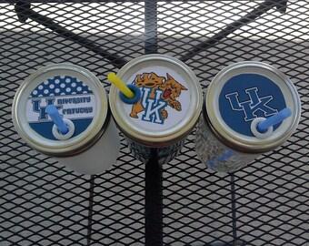24 oz Ball Mason Jar Sippy Tumbler - Univeristy of Kentucky- Choose glass color and lid design