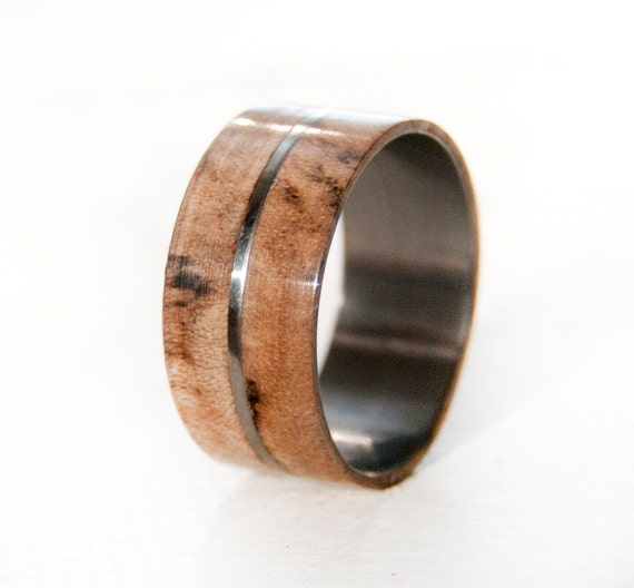 mens wedding rings etsy items similar to titanium ring with wood mens wedding band 5815