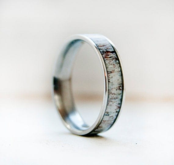 mens wedding band w antler inlay wedding ring staghead designs - Deer Antler Wedding Rings