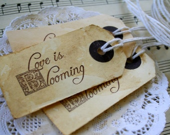"""25 Love is Blooming"""" Mini Stained Tags"""