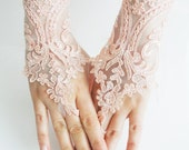 Peach wedding  gloves, french lace, Soft peach pink Wedding gloves, bridal gloves, fingerless  gloves, salmon,  free ship, - WEDDINGHome