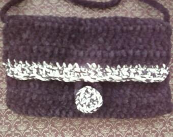 Black Chenille Crocheted Purse