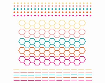 60% OFF SALE  Digital Scrapbook Borders  Dots, Hexagons and Lines  Blue, Pink, Yellow, Orange  png files