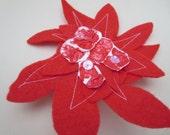 Felt  Brooch, Abstract Brooch, Red Flower Brooch, Designer Brooch,Handmade Jewellery,U. K.
