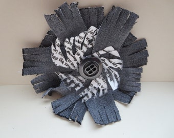 Shabby Chic Flower Brooch, Grey Denim Flower Brooch, Mixed Media Flower Brooch, Handcrafted Shabby Chic Denim Brooch, Handmade Designer UK