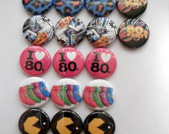 "24 Neon Totally Awesome  80s birthday Party Favors  Images 1"" Pin back buttons pins badges"
