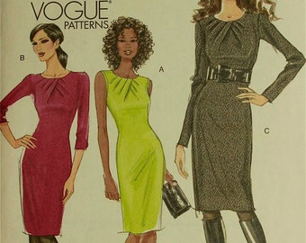 """Dress, Pleated Neckline - 2000's -  Vogue Pattern 8593 Uncut  Size 6-8-10-12  Bust 30.5-31.5-32.5-34"""""""