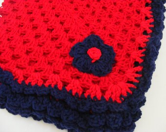Classic Red Baby Blanket with Navy Blue Trim