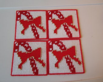 CANDY CANE and BOW Christmas Coasters in Plastic Needlepoint Canvas