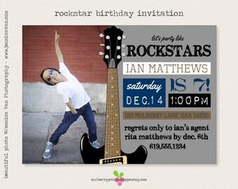 Rockstar Birthday Invitation - Printable or Printed Cards