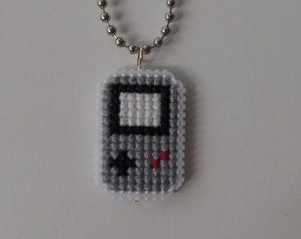 Original Grey Gameboy Cross Stitch Necklace