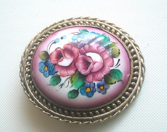 Porcelain Brooch Russian Hand Painted with Silver Mounting Antique