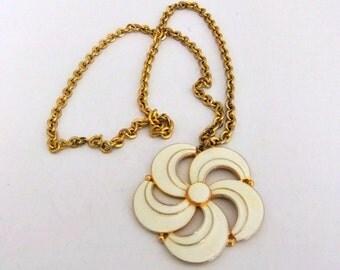 Gold Tone White Enamel Pin Wheel Pendant Necklace
