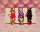 11.5 Fashion Doll Hair Bands - (3) Headbands = (1) Lime Green / Hot Pink, (1) Purple / Lime Green, & (1) Black / Hot Pink