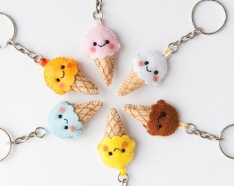 Kawaii Ice Cream Felt Keychain