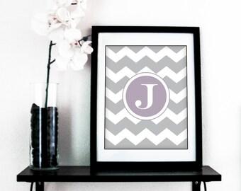"""Letter //  J  //   8""""x10"""" Printable Art - """"Chevron Monogram"""" - Instant Download - DIY - 10 colors"""