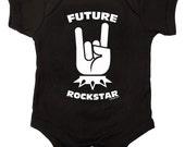 Future Rock Star Punk Baby One Piece Bodysuit Romper in Black