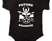 Future Drummer Rock Baby One Piece Bodysuit Romper in Black