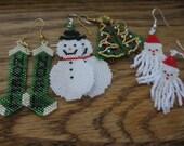 Christmas Earrings, Christmas Tree, Snoman, Santa, Stockings Peyote Earrings