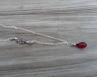 Rose and Ruby Necklace, Sterling Silver, Swarovski Crystal, Donna J Jewelry