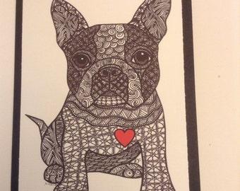 Zentangle Inspired Boston Terrier Note Card, Boston TerrierDog Print, Love Card