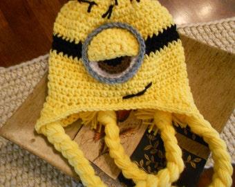 Crochet One Eye Minion Hat-Newborn to Adult-Yellow