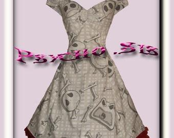 Nightmare Before Christmas Gingham, Jack Skellington, 50s style Rockabilly/Psychobilly Swing Dress.