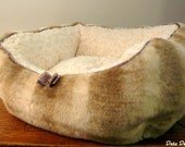 Luxury Chinchilla Faux Fur Doggie Bed  and  Soft Cream Minky Fur Yorkie Maltese Chihuahua