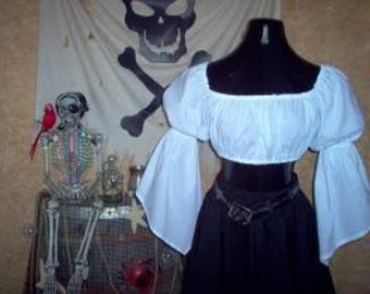 White Cropped Pirate Renaisssance Chemise Shirt Other Colors Available