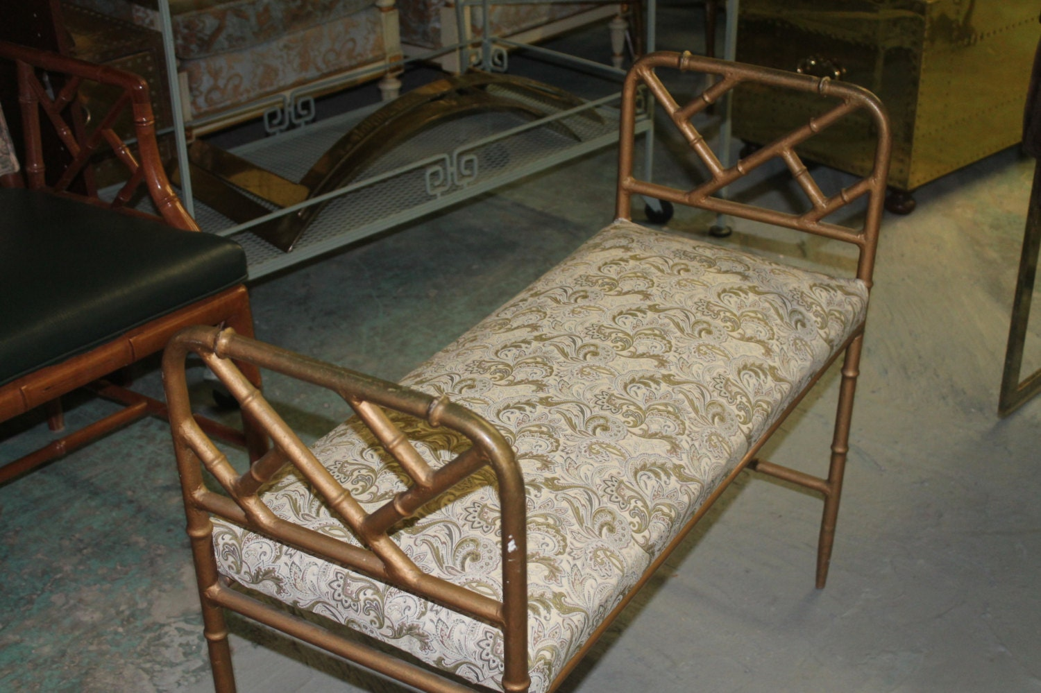 Chinese Chippendale Bed : Vintage Chinese Chippendale Bench Bed Chair by feelinvintage