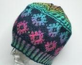 Fair Isle beanie, handknitted, Hat, Cap, wool.