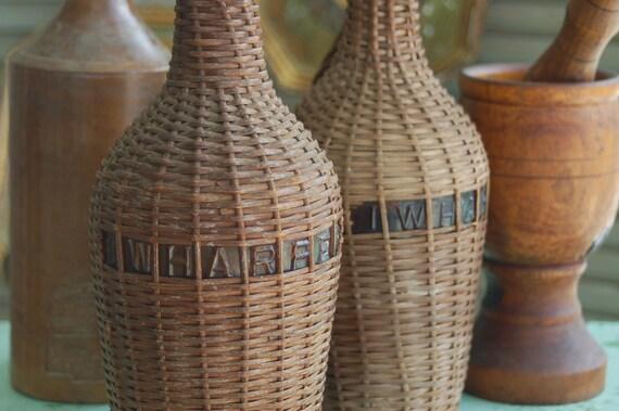Harperamber: Antique Demijohn I.W. Harper Whisky Bottle Embossed Amber