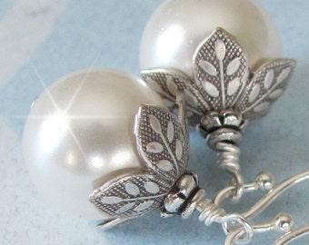 Vintage Style Pearl Wedding Earrings, Bridal Pearl Drop Earrings, Antique Style Weddings Earrings, Bridesmaid Earrings, Mother of The Bride